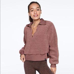PINK Teddy Half Zip Cropped Sweatshirt Mauve Pink